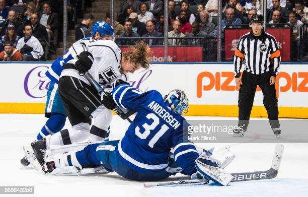 Adrian Kempe of the Los Angeles Kings goes to the net against Frederik Andersen of the Toronto Maple Leafs during the second period at the Air Canada...