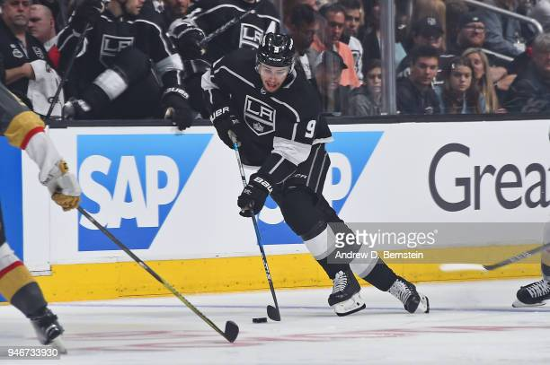 Adrian Kempe of the Los Angeles Kings handles the puck against the Vegas Golden Knights in Game Three of the Western Conference First Round during...