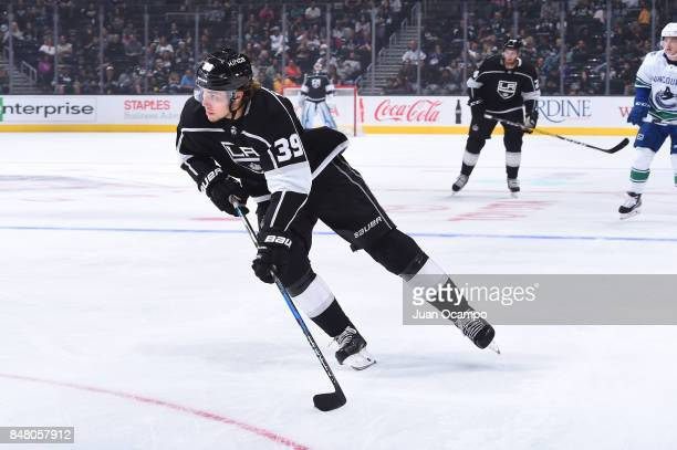 Adrian Kempe of the Los Angeles Kings handles the puck during a game against the Vancouver Canucks at STAPLES Center on September 16 2017 in Los...