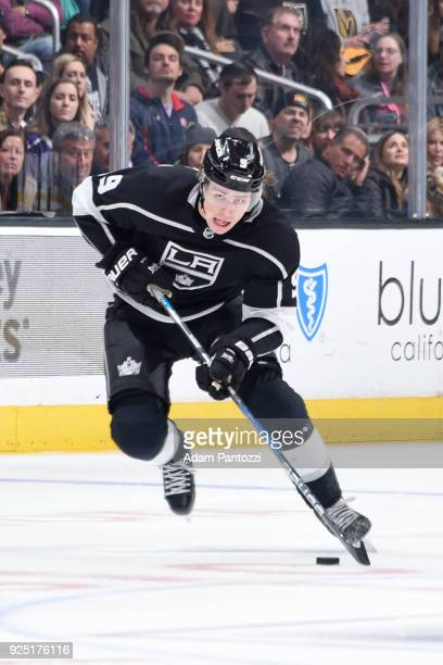 Adrian Kempe of the Los Angeles Kings handles the puck during a game against the Vegas Golden Knights at STAPLES Center on February 26 2018 in Los...