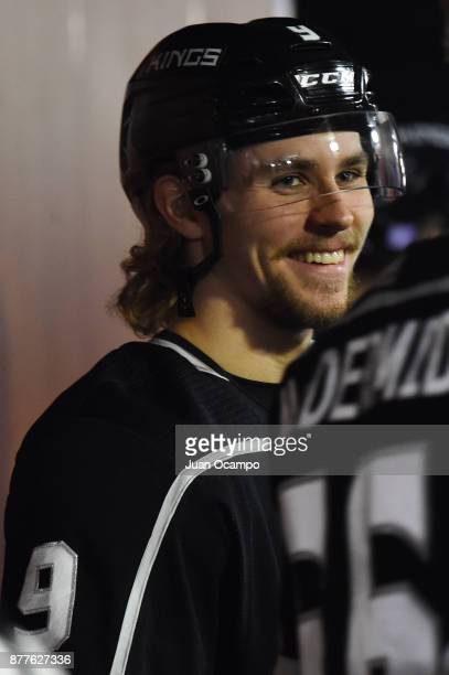 Adrian Kempe of the Los Angeles Kings looks on before a game against the Winnipeg Jets at STAPLES Center on November 22 2017 in Los Angeles California