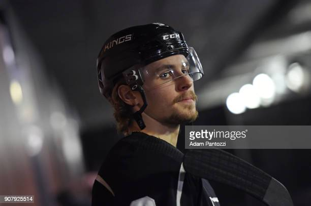 Adrian Kempe of the Los Angeles Kings looks on before a game against the Pittsburgh Penguins at STAPLES Center on January 18 2018 in Los Angeles...