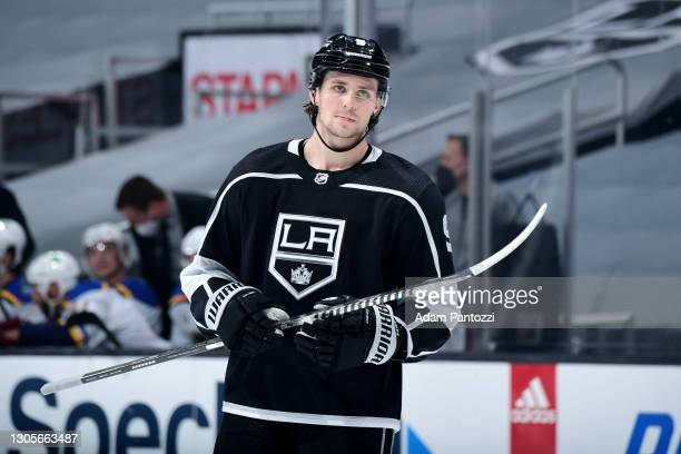 Adrian Kempe of the Los Angeles Kings looks on during the second period against the St. Louis Blues at STAPLES Center on March 5, 2021 in Los...