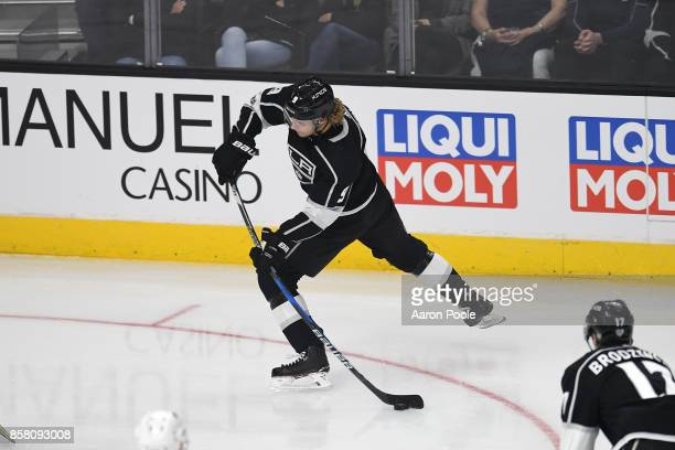 Adrian Kempe of the Los Angeles Kings shoots the puck during a game against the Philadelphia Flyers at STAPLES Center on October 05 2017 in Los...
