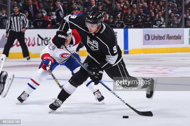 Adrian Kempe of the Los Angeles Kings shoots the puck during a game against the Montreal Canadiens at STAPLES Center on October 18 2017 in Los...