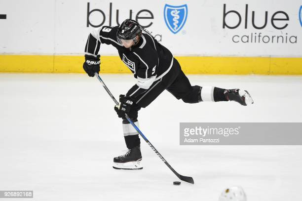 Adrian Kempe of the Los Angeles Kings shoots the puck during a game against the Chicago Blackhawks at STAPLES Center on March 3 2018 in Los Angeles...