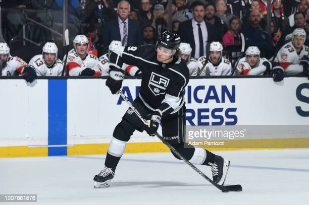 Adrian Kempe of the Los Angeles Kings shoots the puck during the first period against the Florida Panthers at STAPLES Center on February 20, 2020 in...