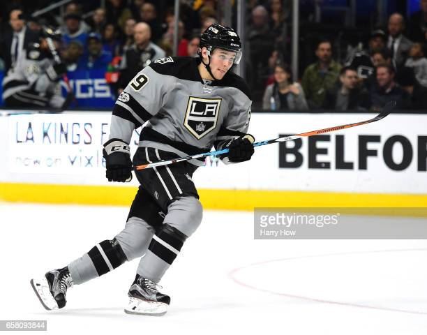 Adrian Kempe of the Los Angeles Kings skates after the play during the game against the New York Rangers at Staples Center on March 25 2017 in Los...