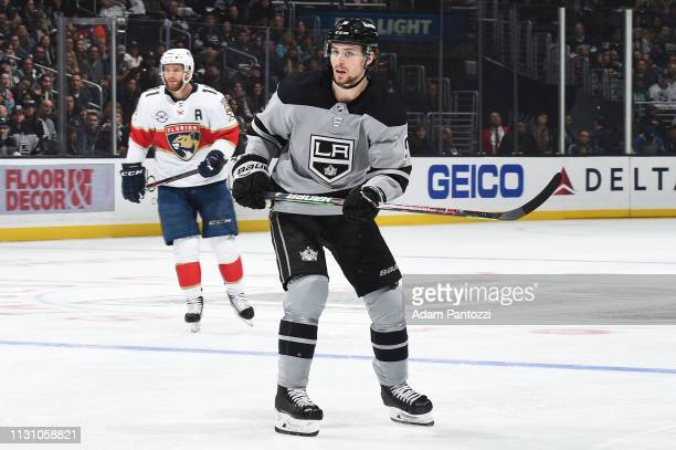 Adrian Kempe of the Los Angeles Kings skates against the Florida Panthers during the third period of the game at STAPLES Center on March 16 2019 in...