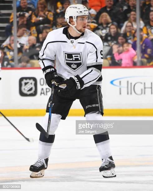 Adrian Kempe of the Los Angeles Kings skates against the Pittsburgh Penguins at PPG Paints Arena on February 15 2018 in Pittsburgh Pennsylvania