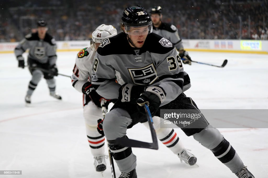 Adrian Kempe #39 of the Los Angeles Kings skates away from Marian Hossa #81 of the Chicago Blackhawks during the first period of a game at Staples Center on April 8, 2017 in Los Angeles, California.