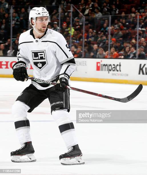 Adrian Kempe of the Los Angeles Kings skates during the game against the Anaheim Ducks on March 10, 2019 at Honda Center in Anaheim, California.