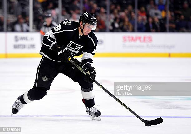 Adrian Kempe of the Los Angeles Kings skates in during a preseason game against the Anaheim Ducks at Staples Center on September 28 2016 in Los...