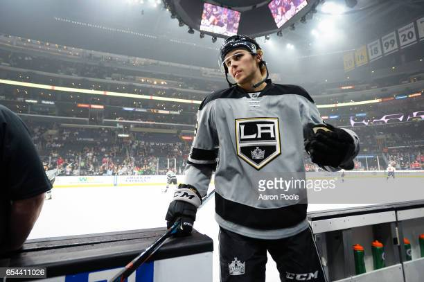 Adrian Kempe of the Los Angeles Kings skates off the ice to conclude warmups of the game against the Washington Capitals on March 11 2017 at Staples...