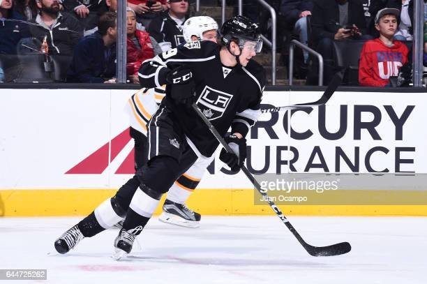 Adrian Kempe of the Los Angeles Kings skates on ice during a game against the Boston Bruins at STAPLES Center on February 23 2017 in Los Angeles...