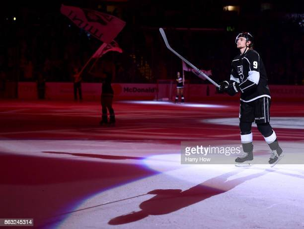 Adrian Kempe of the Los Angeles Kings skates out as the first star of the game after a hat trick against the Montreal Canadiens at Staples Center on...