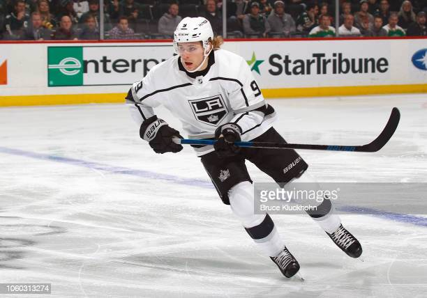 Adrian Kempe of the Los Angeles Kings skates up ice during a game between the Minnesota Wild and Los Angeles Kings at Xcel Energy Center on October...