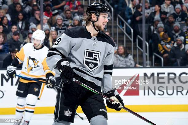 Adrian Kempe of the Los Angeles Kings skates while waiting for play to resume during the third period of the game against the Pittsburgh Penguins at...