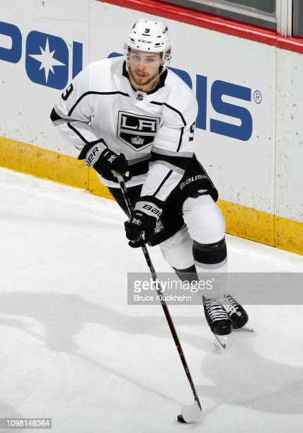 Adrian Kempe of the Los Angeles Kings skates with the puck during a game with the Minnesota Wild at Xcel Energy Center on January 15 2018 in St Paul...