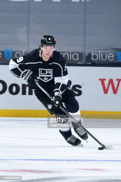 Adrian Kempe of the Los Angeles Kings skates with the puck during the second period against the St. Louis Blues at STAPLES Center on March 5, 2021 in...