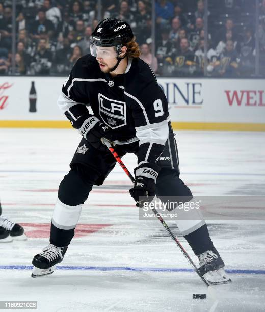 Adrian Kempe of the Los Angeles Kings skates with the puckduring the first period of the game against the Vegas Golden Knights at STAPLES Center on...