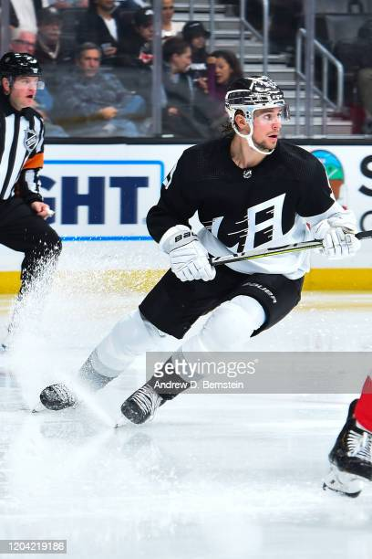 Adrian Kempe of the Los Angeles Kings sprays ice while turning during the second period of the game against the New Jersey Devils at STAPLES Center...