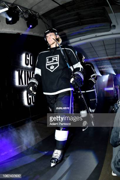 Adrian Kempe of the Los Angeles Kings takes the ice before the game against the Philadelphia Flyers at STAPLES Center on November 1 2018 in Los...