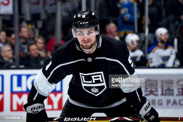 Adrian Kempe of the Los Angeles Kings waits for a faceoff during the third period of the game against the St Louis Blues at STAPLES Center on March 7...