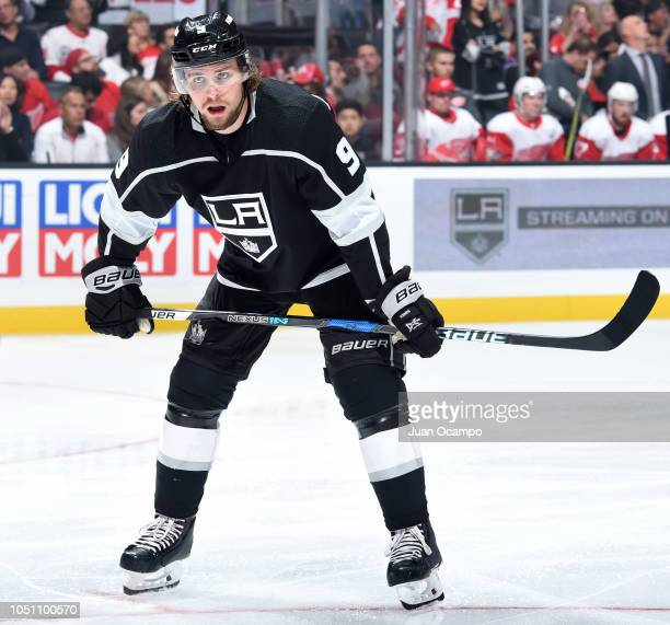 Adrian Kempe of the Los Angeles Kings waits for play to begin during the first period of the game against the Detroit Red Wings at STAPLES Center on...