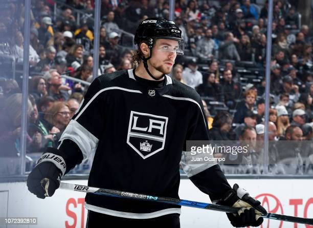 Adrian Kempe of the Los Angeles Kings waits for play to begin during the third period of the game against the Edmonton Oilers at STAPLES Center on...