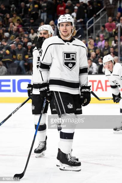 Adrian Kempe of the Los Angeles Kings waits for play to resume against the Vegas Golden Knights during the game at TMobile Arena on November 19 2017...