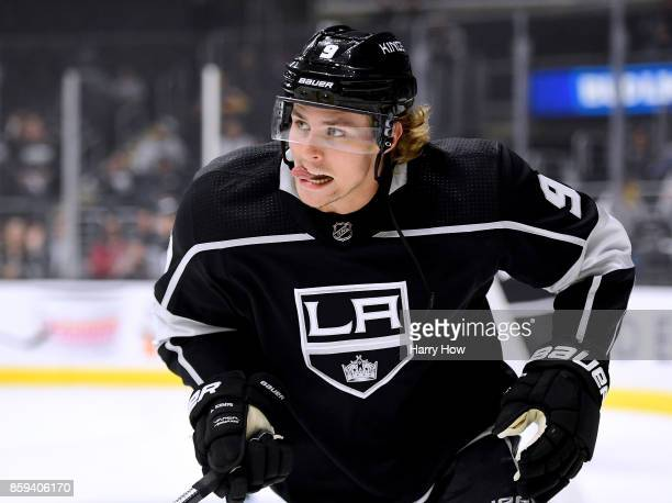 Adrian Kempe of the Los Angeles Kings warms up before opening night of the Los Angeles Kings 20172018 season against the Philadelphia Flyers at...
