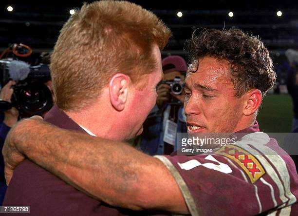 Adrian Lam of the Maroons hugs coach Paul Vautin after victory in game two State of Origin match between the New South Wales Blues and the Queensland...