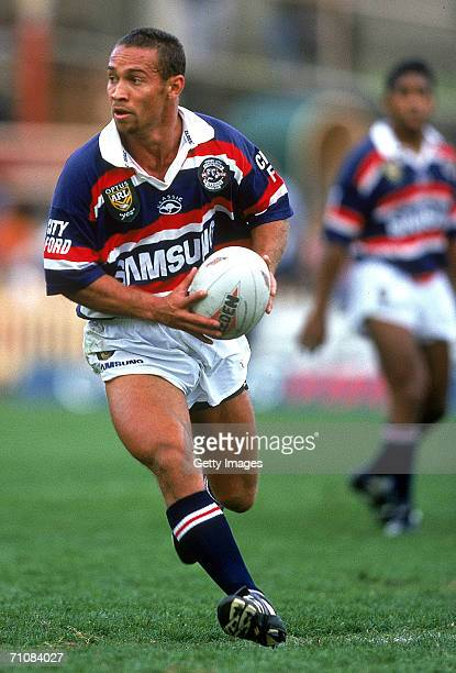 Adrian Lam of the Roosters in action during a ARL match between the North Sydney Bears and the Sydney City Roosters at North Sydney Oval 1997 in...