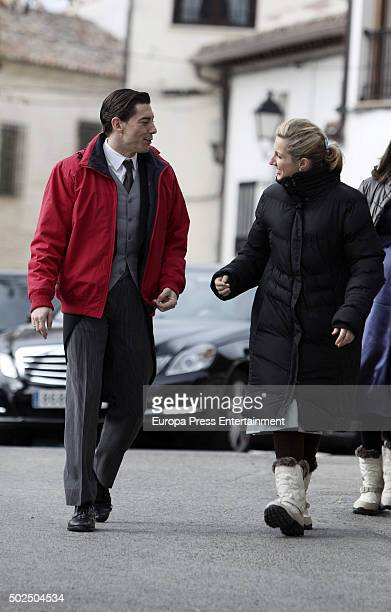 Adrian Lastra and Cecilia Freire are seen during the set filming of 'Galerias Velvet' on December 14 2015 in Madrid Spain