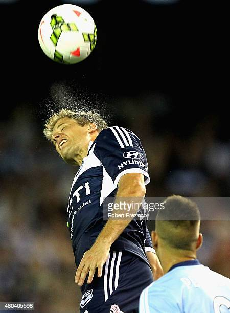 Adrian Leijer of Victory heads the ball during the round 11 ALeague match between Melbourne Victory and Sydney FC at Etihad Stadium on December 13...