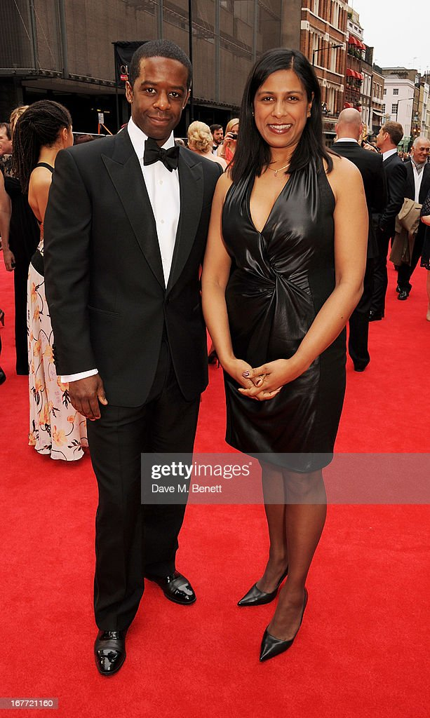 Adrian Lester (L) and Lolita Chakrabarti arrive at The Laurence Olivier Awards 2013 at The Royal Opera House on April 28, 2013 in London, England.