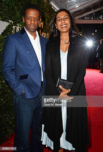 Adrian Lester and Lolita Chakrabarti arrive at the London Evening Standard British Film Awards at Television Centre on February 7 2016 in London...