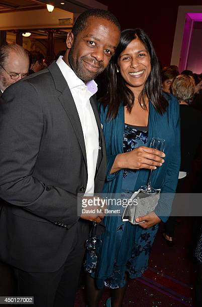 Adrian Lester and Lolita Chakrabarti attend an after party celebrating the press night performance of Benvenuto Cellini directed by Terry Gilliam for...
