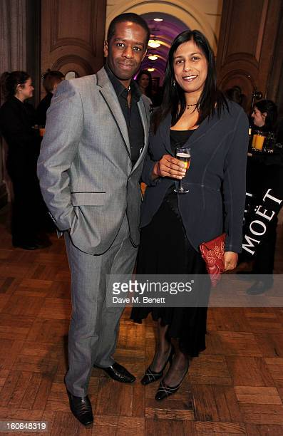 Adrian Lester and Lolita Chakrabarti attend the London Evening Standard British Film Awards at the London Film Museum on February 4 2013 in London...