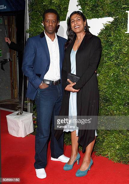 Adrian Lester and Lolita Chakrabarti attend the London Evening Standard British Film Awards at Television Centre on February 7 2016 in London England