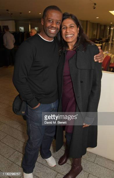 Adrian Lester and Lolita Chakrabarti attend the press night after party for Betrayal at The Cafe In The Crypt St MartinintheFields on March 13 2019...