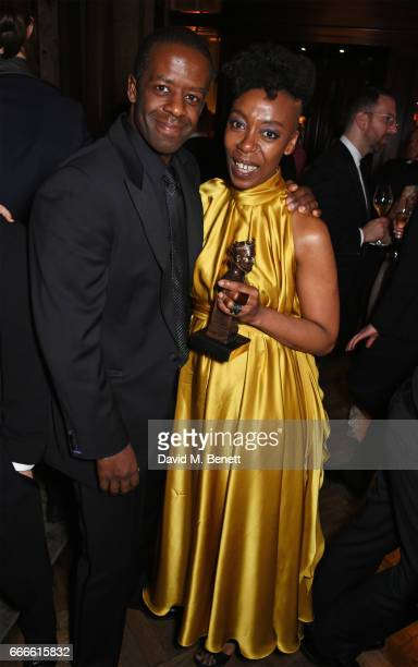 Adrian Lester and Noma Dumezweni attend The Olivier Awards 2017 after party at Rosewood London on April 9 2017 in London England