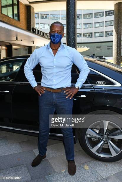 Adrian Lester arrives in an Audi at the Virgin Media British Academy Television Awards 2020 at Television Centre on July 31 2020 in London England