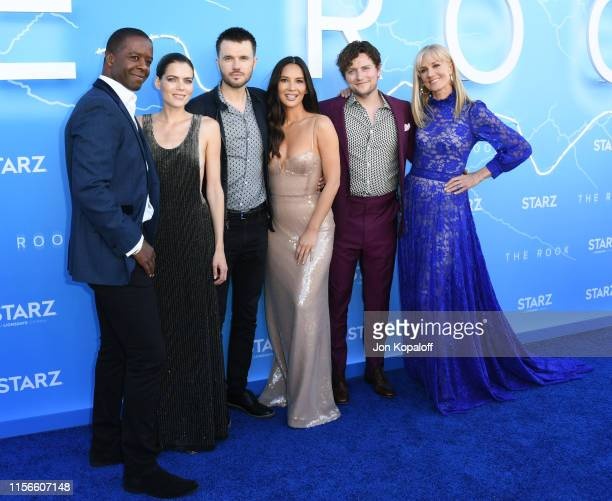 Adrian Lester Emma Greenwell Ronan Raftery Olivia Munn Jon Fletcher and Joely Richardson attend LA Premiere Of Starz's The Rook at The Getty Museum...