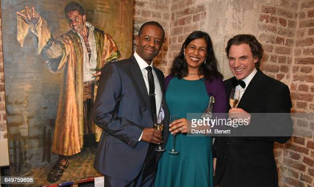Adrian Lester Lolita Chakrabarti and Alexander Newley attend the St MartinintheFields Gala Dinner and auction of Alexander Newley portraits on March...