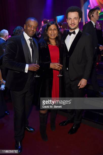 Adrian Lester Lolita Chakrabarti and Jamael Westman attend the after party of the 65th Evening Standard Theatre Awards In Association With Michael...