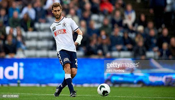 Adrian Lopez of AGF Aarhus controls the ball during the Danish Alka Superliga match between AGF Aarhus and Brondby IF at Cere Park on July 19 2015 in...