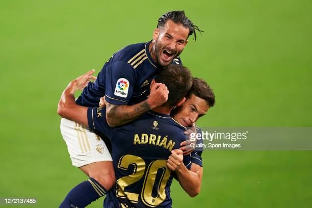 Adrian Lopez of C.A. Osasuna celebrates after scoring his team's first goal during the La Liga Santander match between Cadiz CF and C.A. Osasuna at...