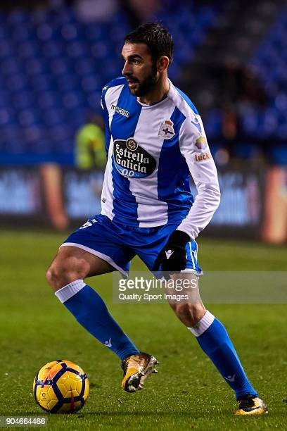 Adrian Lopez of Deportivo de La Coruna in action during the La Liga match between Deportivo La Coruna and Valencia CF at Abanca Riazor Stadium on...